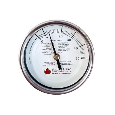 Maple Thermometer. Maple Syrup finishes at 7 degrees above the boiling point of water.
